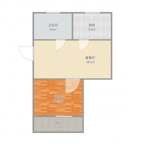 挹秀新村1室2厅1卫1厨99.00㎡户型图
