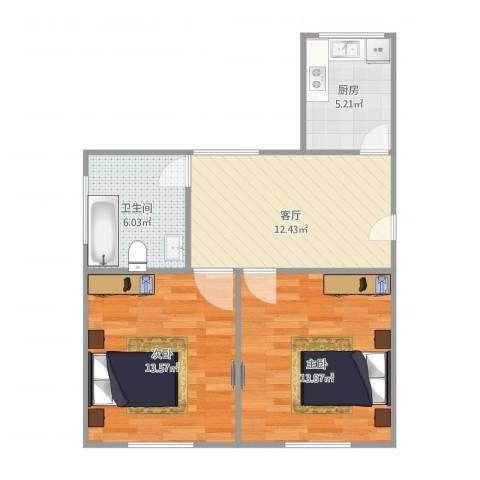 月浦八村2室1厅1卫1厨69.00㎡户型图