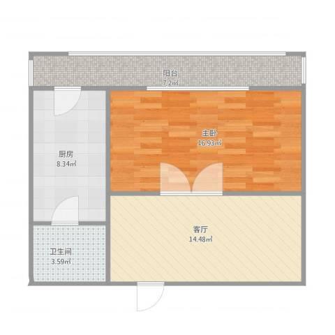 川南公寓1室1厅1卫1厨69.00㎡户型图