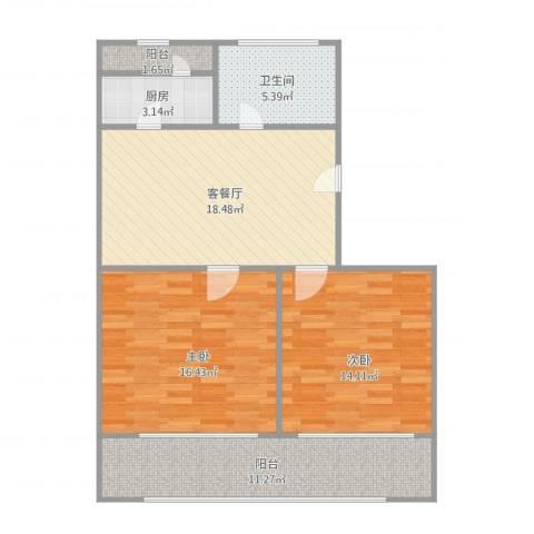 同泰街2室2厅1卫1厨95.00㎡户型图