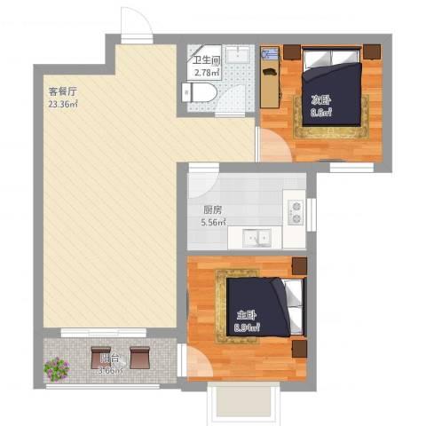 丽景名都三期2室2厅1卫1厨76.00㎡户型图