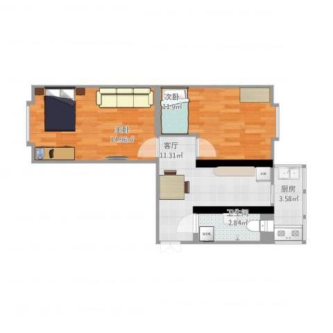海建里2室1厅1卫1厨63.00㎡户型图