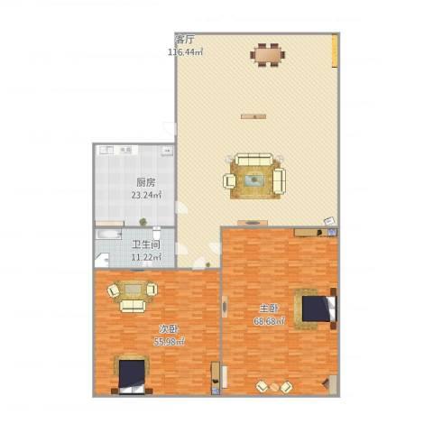 馨园小区2室1厅1卫1厨355.00㎡户型图