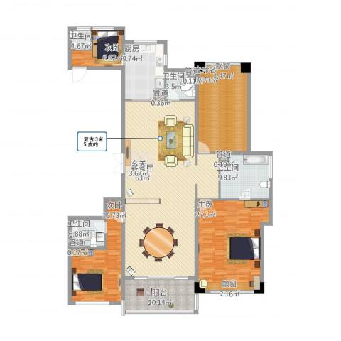 长沙开福万达广场3室2厅4卫1厨240.00㎡户型图