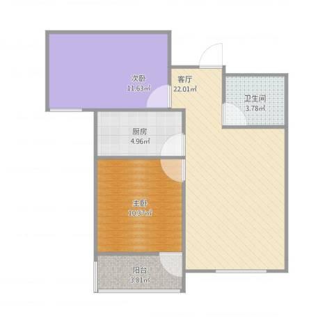 同馨家园2室1厅1卫1厨76.00㎡户型图