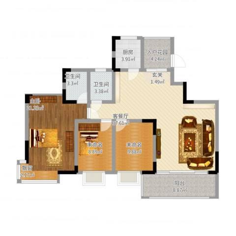 龙湾上和城1室3厅3卫1厨145.00㎡户型图