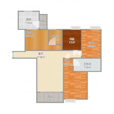 世贸天城3室1厅3卫1厨132.00㎡户型图