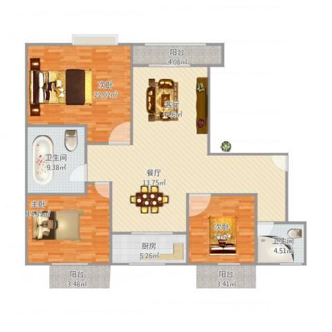 泰苑公寓3室1厅2卫1厨154.00㎡户型图