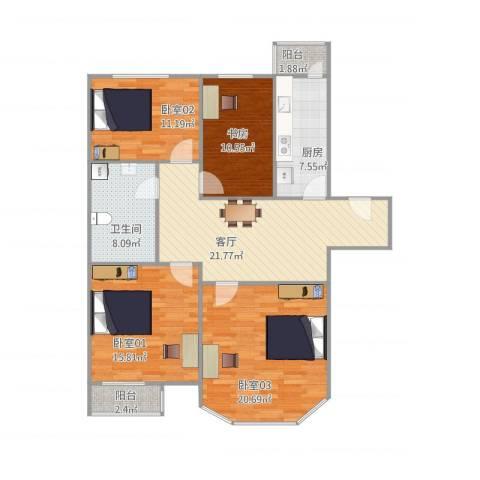 双花园南里二区5-2-1021室1厅1卫1厨134.00㎡户型图