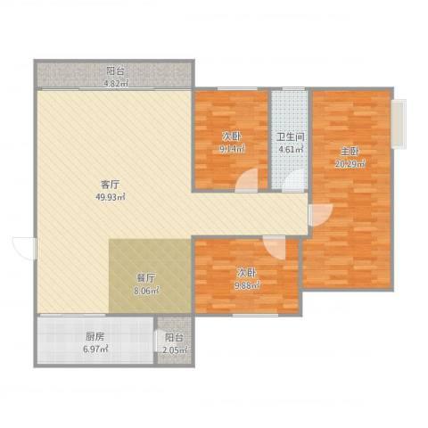 东城花园3室1厅1卫1厨144.00㎡户型图