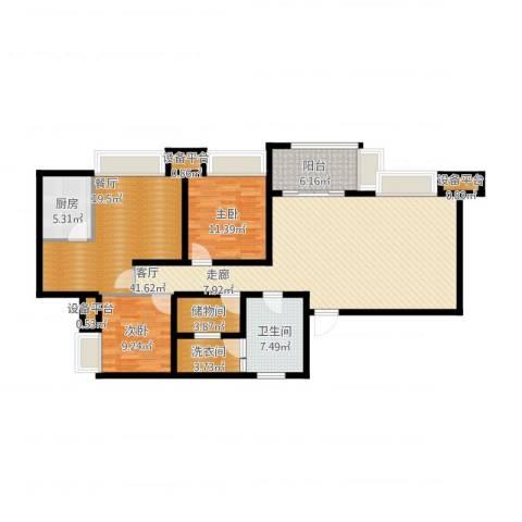 无国界2室2厅1卫1厨159.00㎡户型图