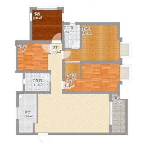 海亮香榭里3室1厅2卫1厨129.00㎡户型图
