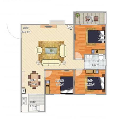 含光静里3室1厅1卫1厨91.71㎡户型图