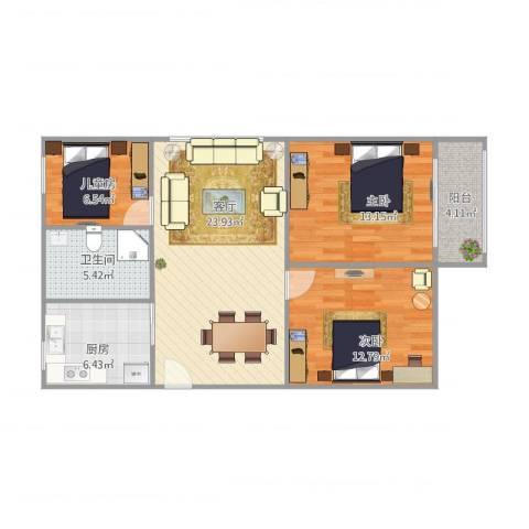 曙光新苑3-2-13室1厅1卫1厨97.00㎡户型图