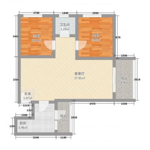 东晖花园2室2厅1卫1厨88.00㎡户型图