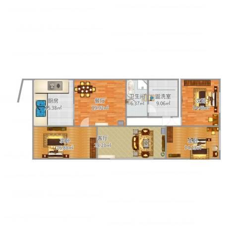 九九花园3室4厅1卫1厨152.00㎡户型图