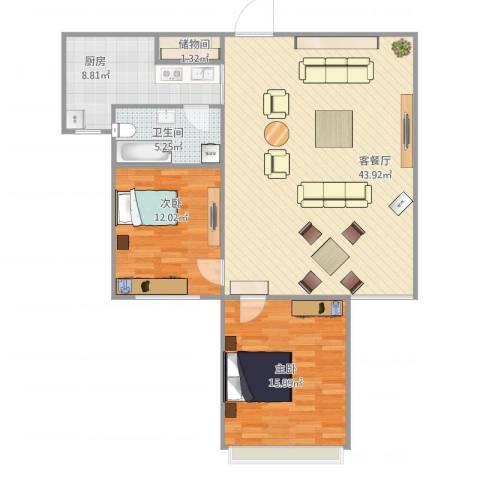 亿城山水颐园2室2厅1卫1厨116.00㎡户型图