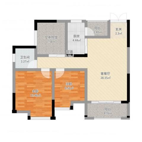 鸥鹏・天境2室2厅1卫1厨107.00㎡户型图