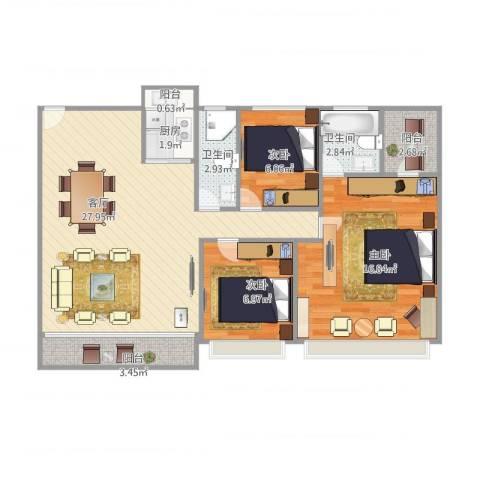 风度广场3室1厅2卫1厨98.00㎡户型图
