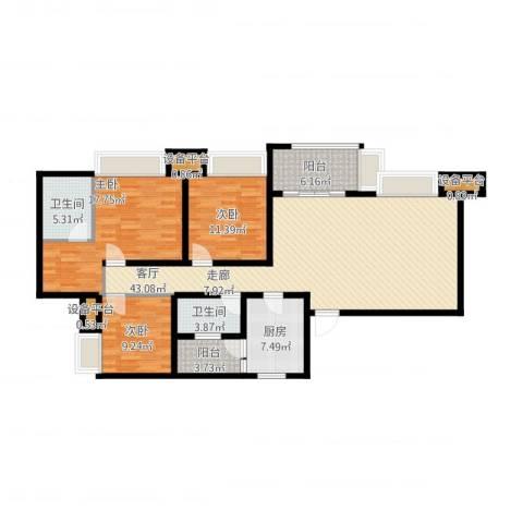 无国界3室1厅2卫1厨159.00㎡户型图