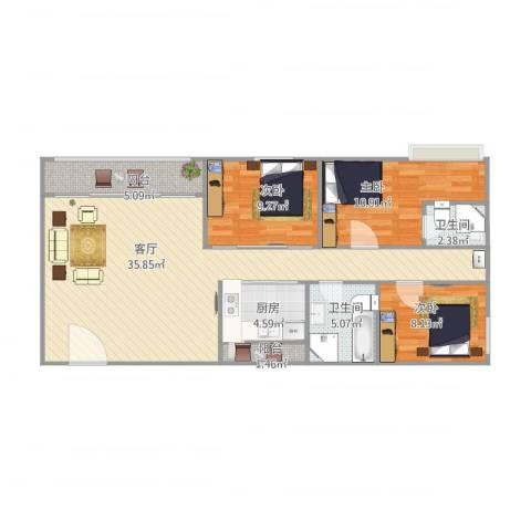 风度国际名苑3室1厅2卫1厨112.00㎡户型图