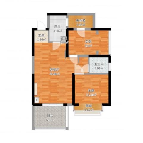 惠民怡家2室2厅1卫1厨91.00㎡户型图