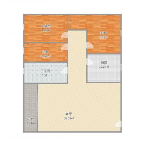 锦城花园3室1厅1卫1厨191.00㎡户型图
