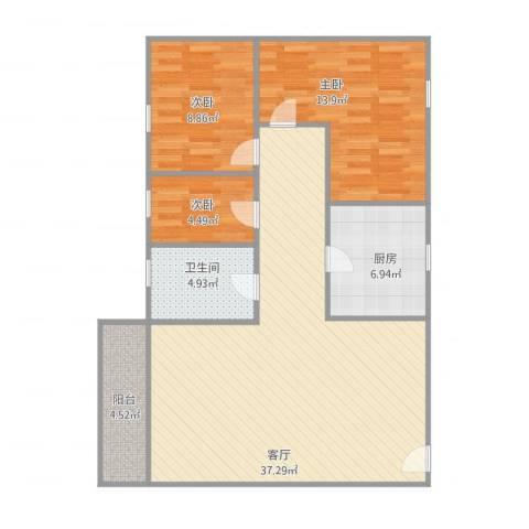锦城花园3室1厅1卫1厨109.00㎡户型图