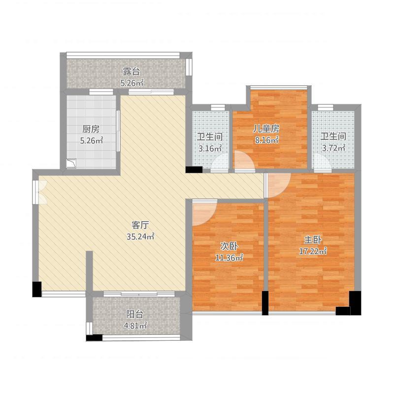 富湾国际113方01户型三房两厅