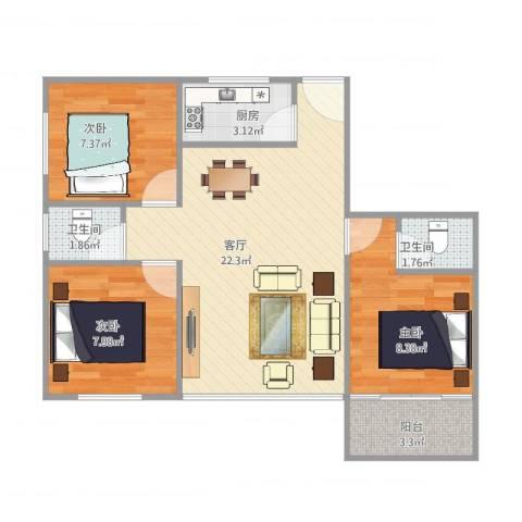 华富大厦14013室1厅2卫1厨77.00㎡户型图