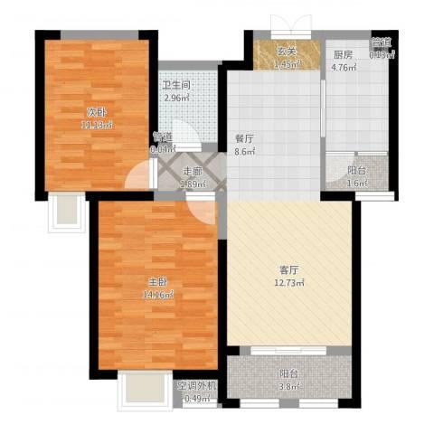 西华公馆2室2厅4卫1厨93.00㎡户型图
