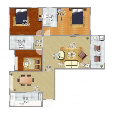 阳光家天下2室2厅2卫1厨142.00㎡户型图