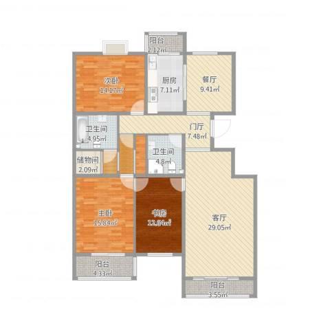 天鸿美域3室2厅2卫1厨173.00㎡户型图