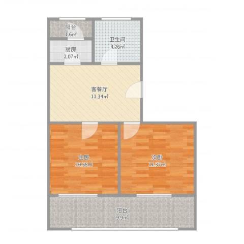 同泰街2室2厅1卫1厨70.00㎡户型图