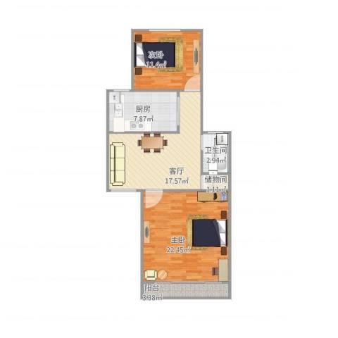 白杨小区2室1厅1卫1厨90.00㎡户型图