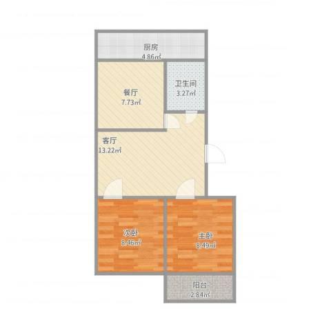 和平新村2室2厅1卫1厨67.00㎡户型图