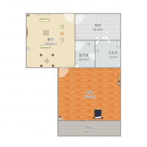 绿洲比华利花园1室3厅1卫1厨590.00㎡户型图