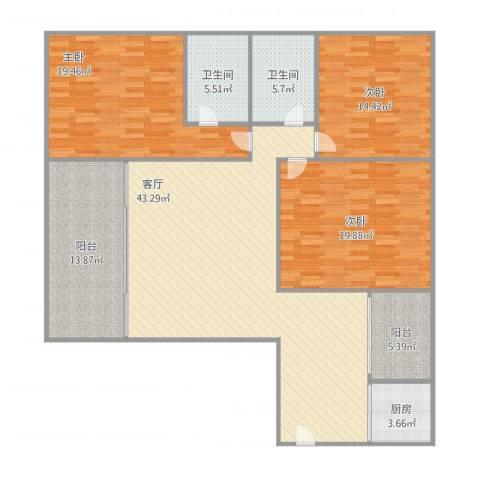 滨海御庭3室1厅2卫1厨175.00㎡户型图