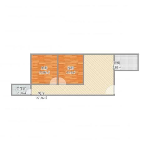 基业花园2室1厅1卫1厨80.00㎡户型图