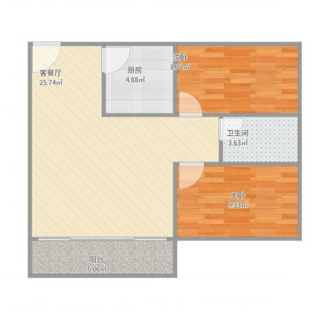 基业花园2室2厅1卫1厨78.00㎡户型图