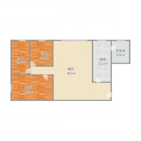 桃花园3室1厅1卫1厨107.00㎡户型图