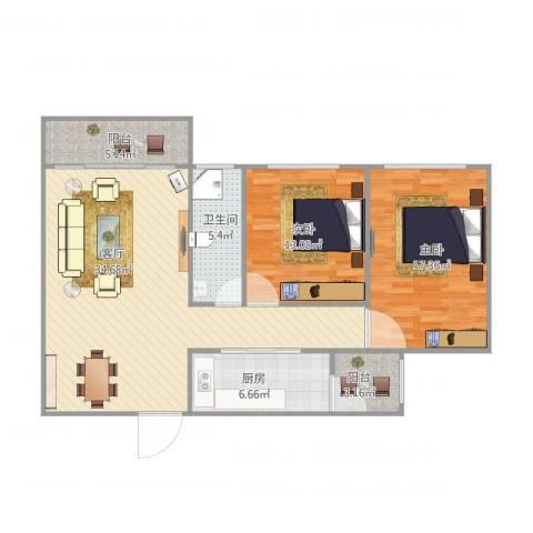 云山熹景2室1厅1卫1厨115.00㎡户型图