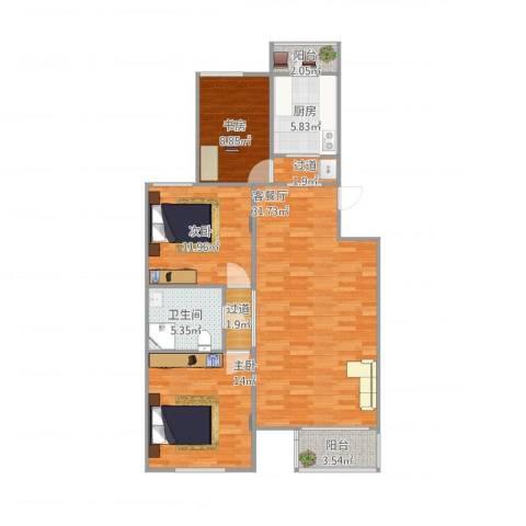 龙腾苑六区3室2厅1卫1厨117.00㎡户型图