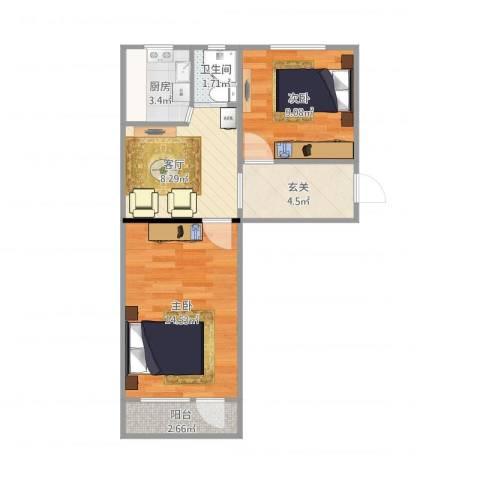 翠微东里小区2室1厅1卫1厨48.41㎡户型图