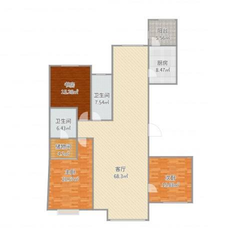 哈尔滨星光耀广场3室1厅2卫1厨166.00㎡户型图