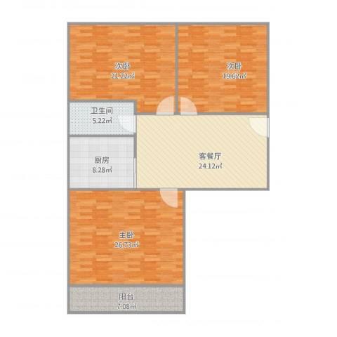 工人新村3室2厅1卫1厨149.00㎡户型图