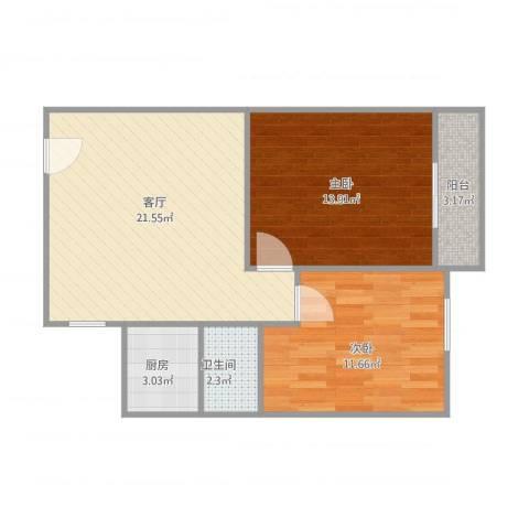 周门小区2室1厅1卫1厨75.00㎡户型图