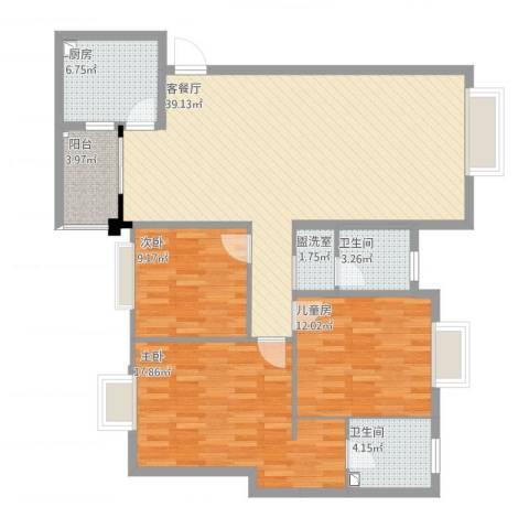 南延新苑3室4厅2卫1厨129.00㎡户型图