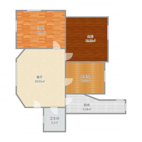 周门小区3室1厅1卫1厨126.00㎡户型图