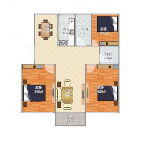 锦江半岛3室1厅2卫1厨188.00㎡户型图